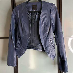 Dynamite Navy faux leather open jacket XS